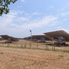Wine tasting at a winery south of Corato, solar panels in field next to winery