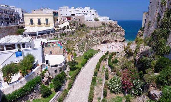 Polignano a Mare, beach and hotel