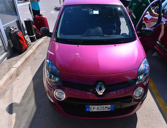 Bari:  checking the Twingo at the Bari airport and going to meet the K-State group