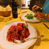 Le Querce di Mamre Agriturismo:  and now for the meat dish - water buffalo carapaccio on lettuce with mozzarella bufala, all from their farm