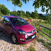 Calabria, La Rosa Nel Bicchiere Agriturismo, outside of Soveria Mannelli:  our trusty Twingo, note the permeable paving