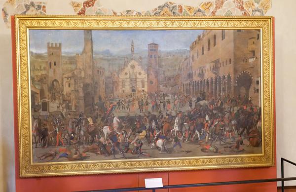 Mantua, Castle of St. George; Expulsion of the Bonacolsi by the Gonzagas in 1328, scene of Piazza Sordello, canvas of Domenico Morone