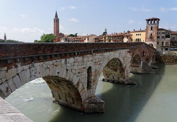 Verona: rebuilt bridge (11/12 bridges dynamited by WWII Nazis) - white is original stone