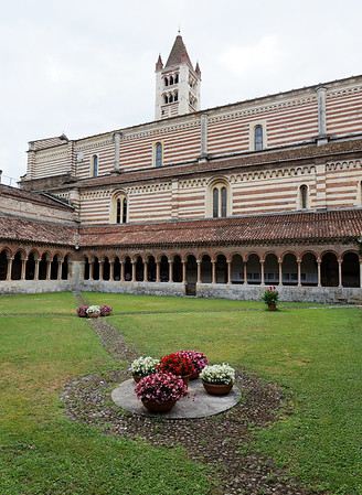 Verona St. Zeno;  courtyard, showing brick and stone bicolor detail