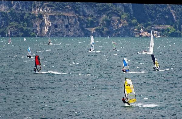 Lake Garda area; around 2pm, the wind comes up