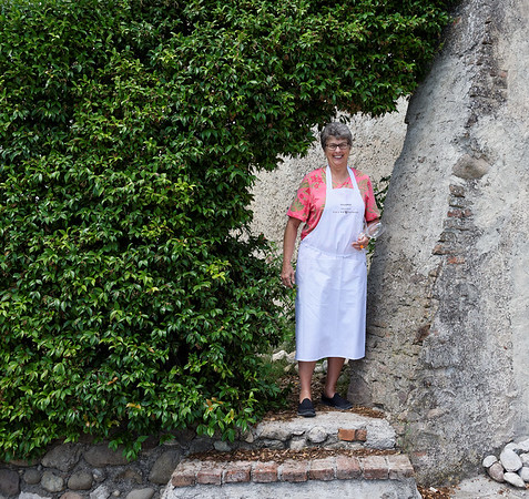 Borgo San Doninio; Suzanne at the entrance to the grounds of the chapel