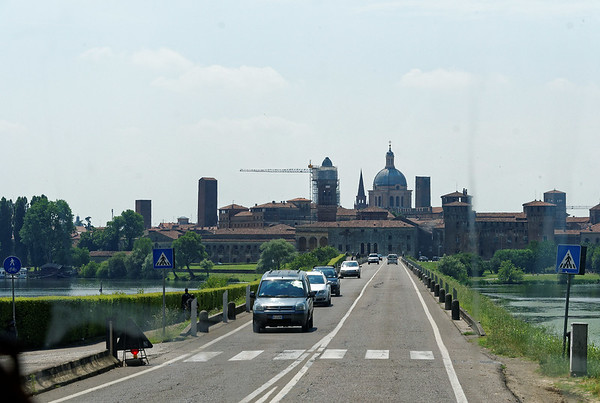 Mantova (Mantua); entering the city on the Mincio River, a tributary of the Po which descends from Lake Guarda