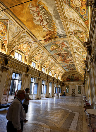 Mantua, Castle of St. George; Hall of the Archers, ceiling frescos change perspective as you move down the hall