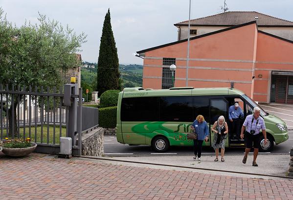 Marano di Valpolicella; our small bus delivering us to a winery