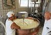Ronca, La Casara; making fresh cheese - started in the 1920's, Giovanni (right) is one of three grandchildren of the founder Ermenegildo Roncolato