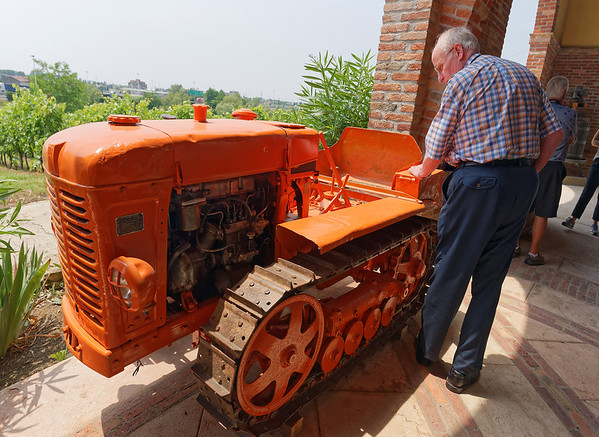 Soave, Monte Tondo winery; Roger checks out small tractor