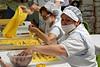 Valeggio; spots of sofrito on cut dough