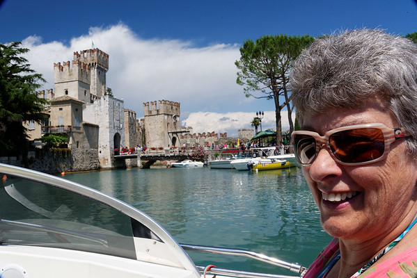Sirmione; castle and harbor, Suzanne and group going for a boat ride