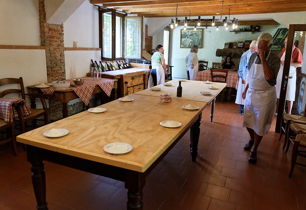 Borgo San Donino; the breakfast room at the apartments was set up after breakfast for pasta making
