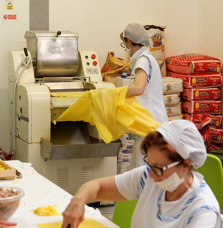 Valeggio; large sheets of dough coming out of the machine