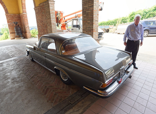 Soave, Monte Tondo winery; David and wonderful Mercedes with small fins and air suspension