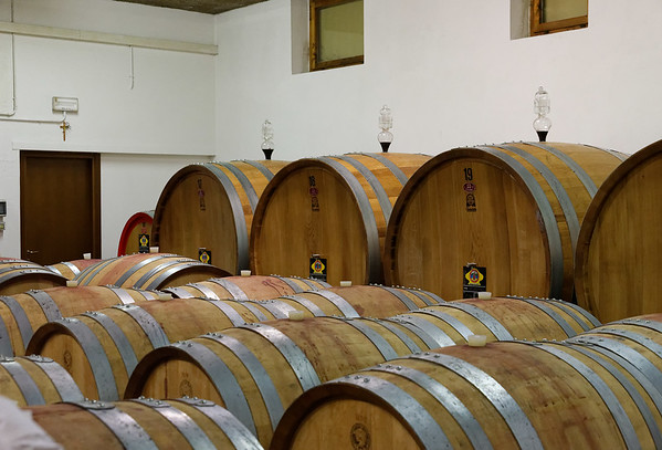 Marano di Valpolicella; glass device lets them know when to top off the casks, some of which may be used for 25 years