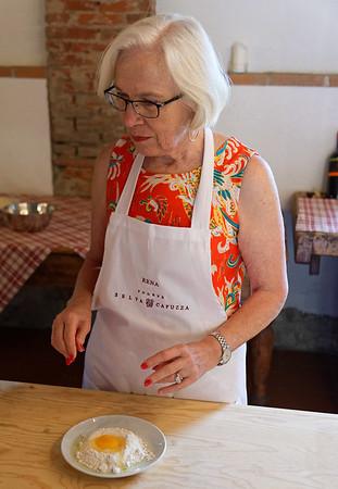 Borgo San Doninio; Rena and her flour volcano and egg