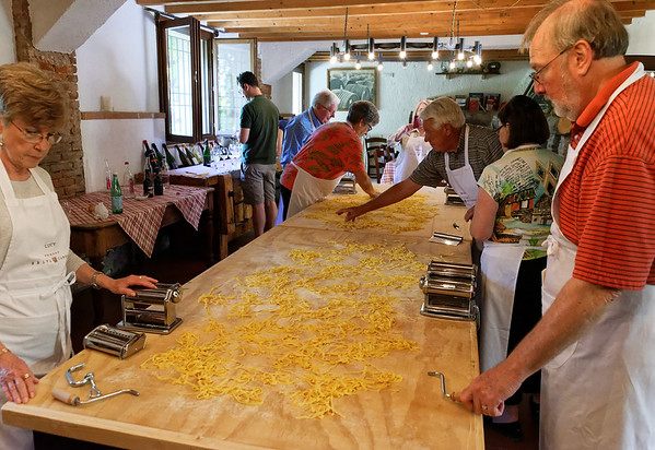 Borgo San Doninio; Lucy and Jim with the final product drying on the table