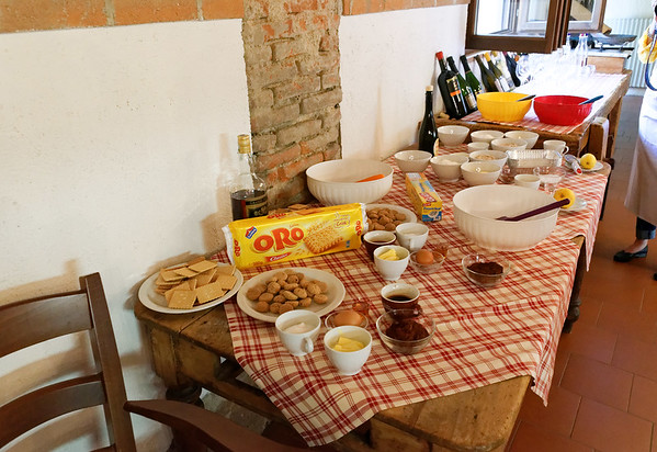 Borgo San Donino; all the ingredients ready for crumble cake, chocolate salami and pannacotta