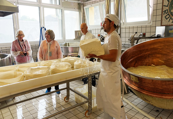 Ronca, La Casara; putting the fresh cheese in rounds to drain