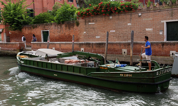 Venice; early am walk - supplies being shipped in