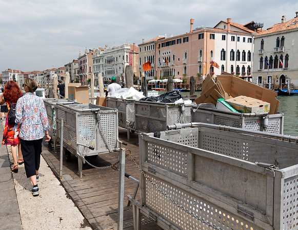 Venice; containers in which everyting in Venice is delivered and hauled off