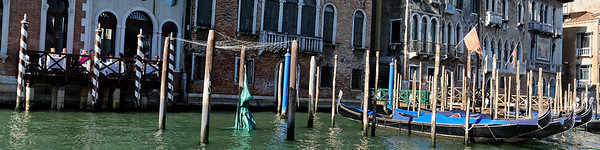 Venice; breakfast and gondolas lined up