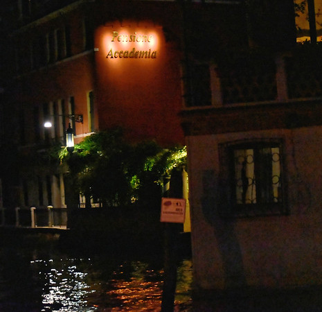 Venice; night cruise by water bus, our hotel
