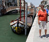 Venice; brightly painted bow of fisherman's boat