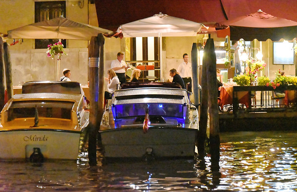 Venice; night cruise by water bus, drive-in dining