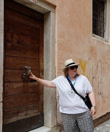 Venice; Cynthia and small oar lock used as door pull