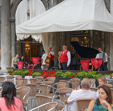 Venice; hotel restaurant band not looking real happy