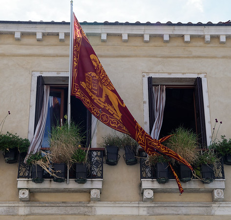 Venice; flag of Venice with streamers