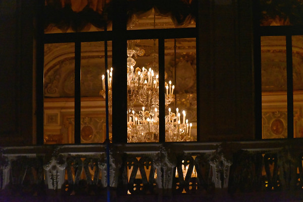 Venice; night cruise by water bus, chandelier and room detail