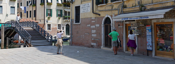 Venice; Lucy photographing sign