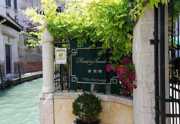 "Venice; water taxi entrance, Pensione Accademia, ""Villa Maravege"" a converted private residence"
