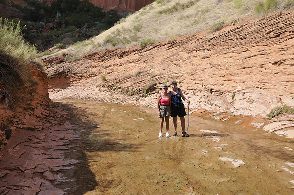 Sara and Suzanne coming back along the creek in Llewellyn Gulch.