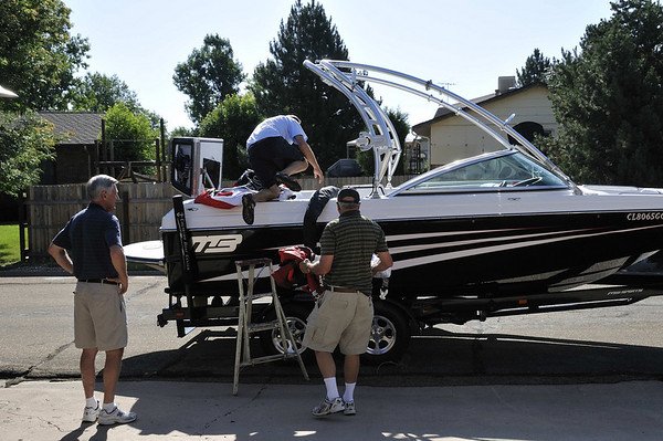 Getting the ski boat ready