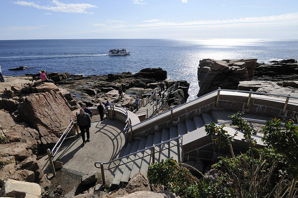 walk to Thunder Hole, where small girl was swept away this year (2009) by hurricane-driven waves, drive through Acadia National Park, ME