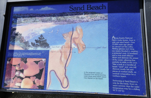 Sand Beach sign, drive through Acadia National Park, ME