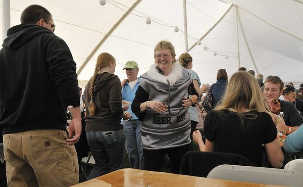the beer keg lady, Oktoberfest, Southwest Harbor, ME