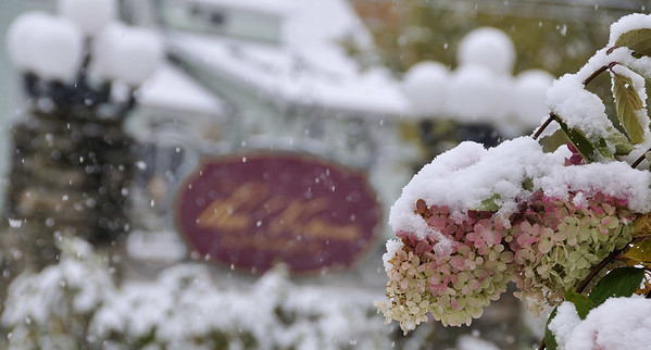 snow falling, the Victoria, Bethel, ME
