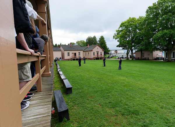 Mackinac Island, Fort Mackinac soldiers drill and fire guns