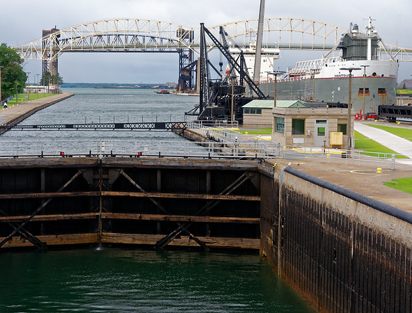 Sault Ste. Marie locks, flooding the lock