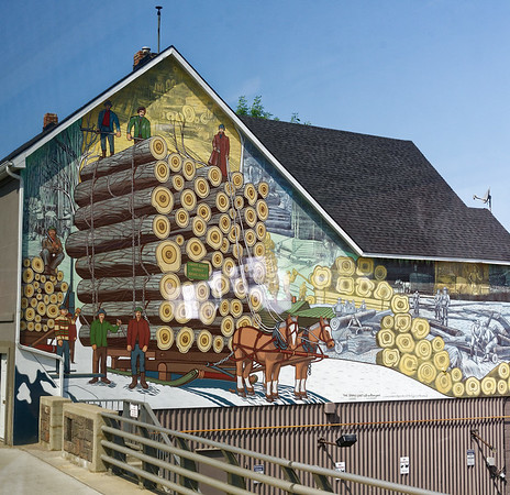 Parry Sound, Ontario - mural revealing a logging past