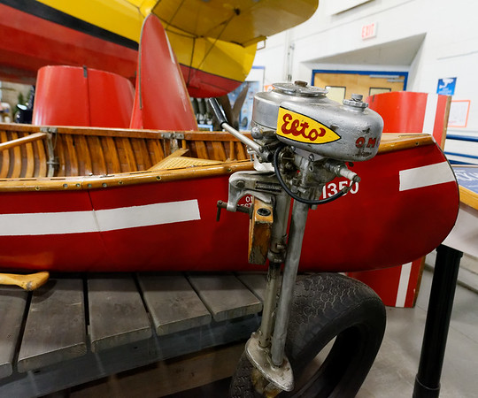 Sault Ste. Marie, Bushplane Museum, wood canoe and outboard motor