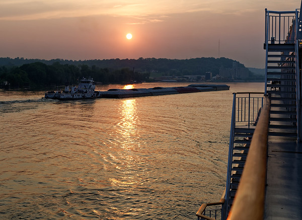 Sunset on the Mississippi, above St. Louis MO