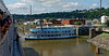 Dubuque IA, smaller boat leaving port