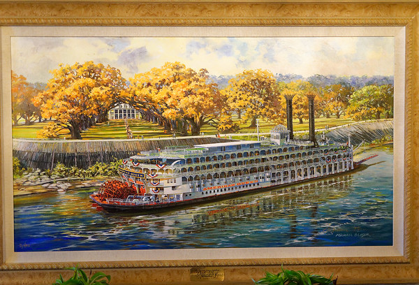 Painting (see previous caption) of Oak Alley and the American Queen